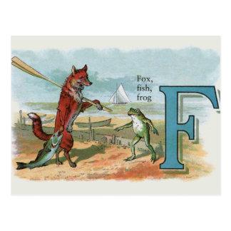 Vintage gehende Fischerei des Fuchses und des Postkarte