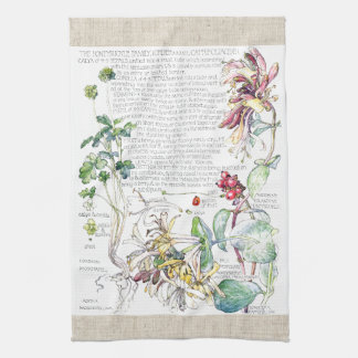 Vintage Geißblatt-Blumen-Küchen-Tücher Geschirrtuch