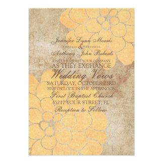 Vintage gelbe Dahlie-Blumenhochzeits-Einladung