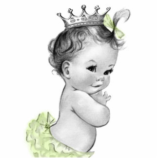 Vintage gelbe Mädchen-Dusche Prinzessin-Baby Freistehende Fotoskulptur