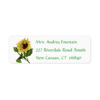 Vintage gelbe Sonnenblume-Grün-mit BlumenBlume Rückversand-Adressaufkleber
