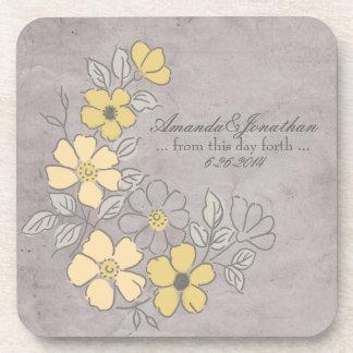 Vintage gelbe und graue Blumenhochzeit Getränke Untersetzer