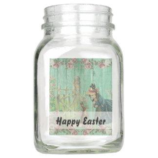 Vintage gemalte rustikale Ostern-Kaninchen-Szene Einmachglas