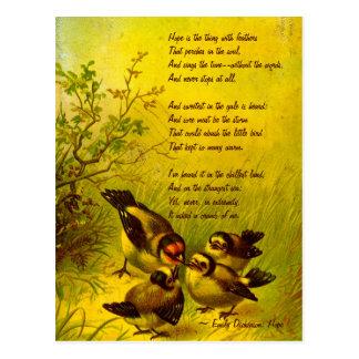 Vintage gemalte Spatzen-Postkarte Emilys Dickinson Postkarte