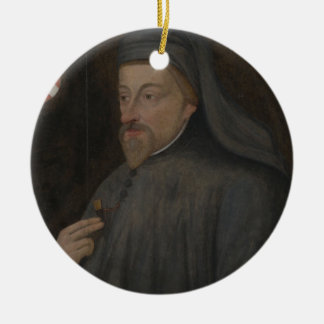 Vintage Geoffrey- Chaucerporträt-Malerei Keramik Ornament