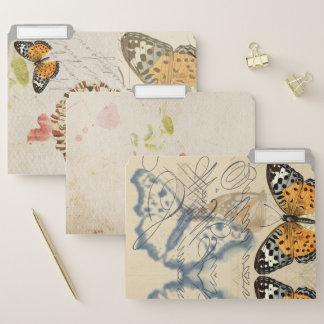 Vintage gepresste Blumen-u. Schmetterlings-Collage Papiermappe