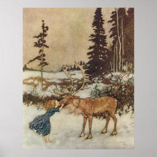 Vintage Gerda und das Ren durch Edmund Dulac Poster