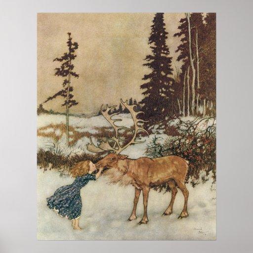 Vintage Gerda und das Ren durch Edmund Dulac Plakatdrucke