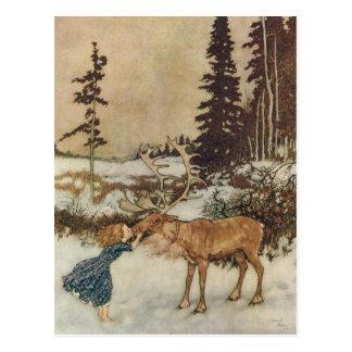 Vintage Gerda und das Ren durch Edmund Dulac Postkarte