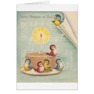 Vintage Gesang-Vögel und Kuchen-Geburtstags-Karte Grußkarte