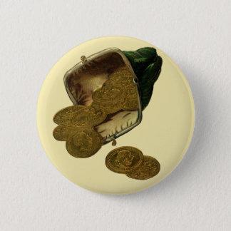 Vintage Geschäfts-Finanzierung, Goldmünze-Geld im Runder Button 5,7 Cm
