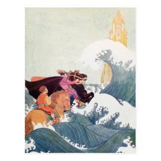 Vintage Geschichten-Buch-Illustration: Ein großes Postkarte