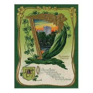 Vintage Geschwätz-Schloss-St Patrick Gruß-Karte Postkarte