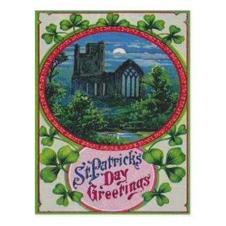 Vintage Geschwätz-Schloss-St Patrick Tageskarte Postkarte