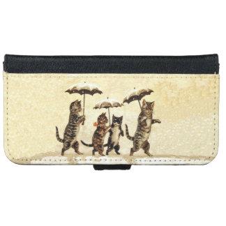 Vintage gestreifte Katzen-Regenschirme, die Schnee iPhone 6 Geldbeutel Hülle