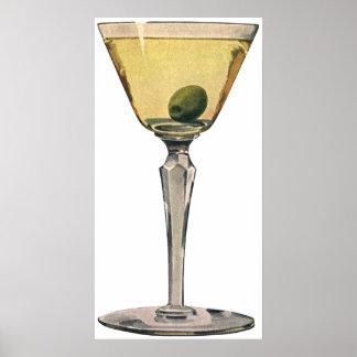 Vintage Getränk-Getränke, Martini-Oliven-Cocktail Poster