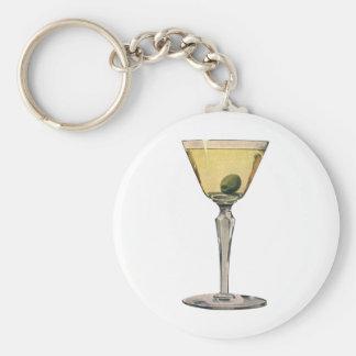 Vintage Getränk-Getränke, Martini-Oliven-Cocktail Schlüsselanhänger