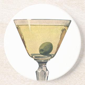 Vintage Getränk-Getränke, Martini-Oliven-Cocktail Untersetzer