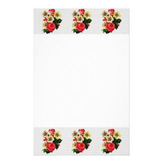 Vintage Gewebe-Blick-Rosen u. Blumen Briefpapier