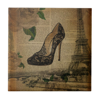 Vintage girly Schuhe Turms Paris Eiffel Fliese