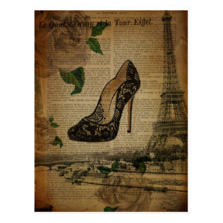 Vintage girly Schuhe Turms Paris Eiffel Postkarte