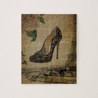 Vintage girly Schuhe Turms Paris Eiffel Puzzle