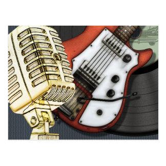Vintage Gitarren-und Mikrofon-Postkarte Postkarte