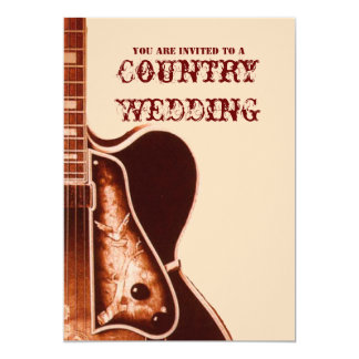 Vintage Gitarren-Western-Land-Hochzeits-Einladung Karte