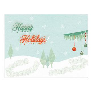 """Vintage """"glückliche Feiertage!"""" Landschaft Postkarte"""