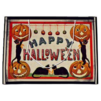 Vintage glückliche Halloween-Kürbis-schwarze Große Geschenktüte
