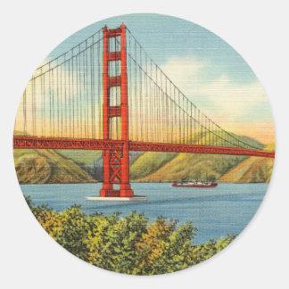 Vintage Golden Gate Brücke San Francisco Reise Runder Aufkleber