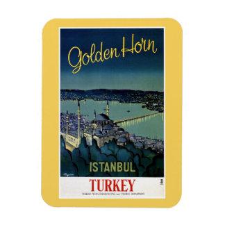 Vintage goldene Reise Horn-Istanbuls die Türkei Flexible Magnete