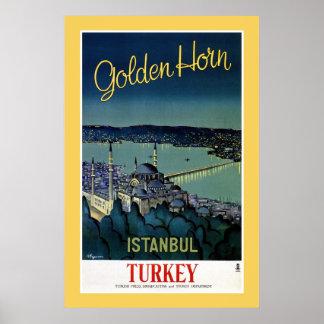 Vintage goldene Reise Horn-Istanbuls die Türkei Poster