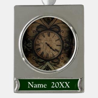 Vintage gotische antike Wand-Uhr Steampunk Banner-Ornament Silber