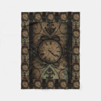 Vintage gotische antike Wand-Uhr Steampunk Fleecedecke