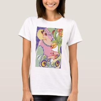 Vintage Grafiken, Prallplatte, die Blumenzwanziger T-Shirt