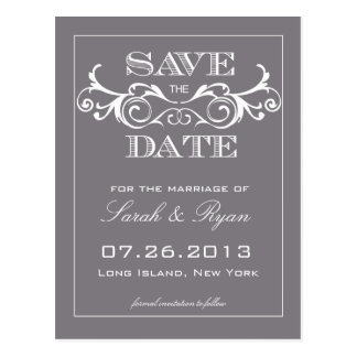 Vintage graue Strudel-Save the Date Mitteilung Postkarte