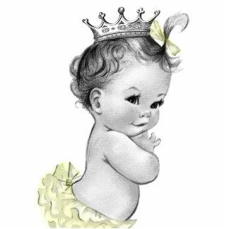 Vintage graue und gelbe Mädchen-Dusche Prinzessin- Freistehende Fotoskulptur