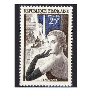 Vintage gravierte Briefmarken-Postkarte Postkarte