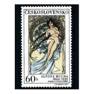 Vintage gravierte Briefmarken-Postkarte Postkarten