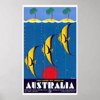 Vintage Great Barrier Reef Australien Reise Poster
