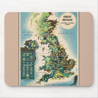 Vintage Großbritannien-Betriebsmittel-Karte Mauspad
