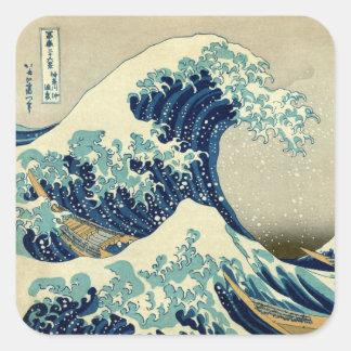 Vintage große Welle von Malerei Kanagawa Ukiyo-e Quadrataufkleber