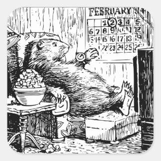 Vintage Groundhog TagesSchwarz-weiße Illustration Quadratischer Aufkleber
