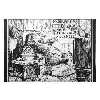 Vintage Groundhog TagesSchwarz-weiße Illustration Stofftischset