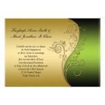 Vintage grüne Schwarz-und Goldhochzeits-Einladung