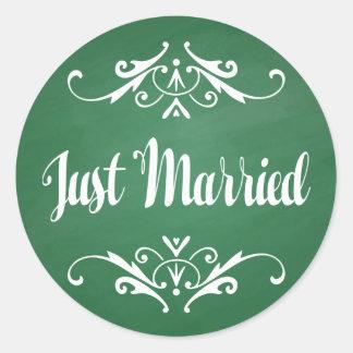 Vintage grüne Tafel-gerade verheiratete Hochzeit Runder Aufkleber