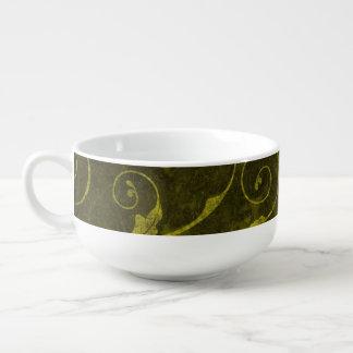 Vintage grüne Tapete Große Suppentasse