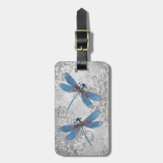 Vintage Grunge-Damast-Libellen Gepäckanhänger