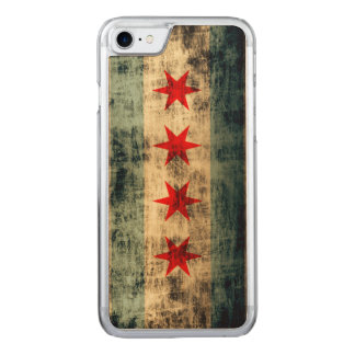 Vintage Grunge-Flagge von Chicago Carved iPhone 8/7 Hülle